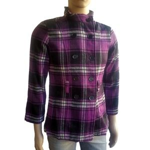 BCX Girl Purple Plaid Coat Girls SZ XL Black
